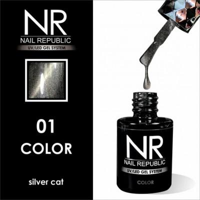 NR Гель-лак CAT-01, Silver (10 мл)